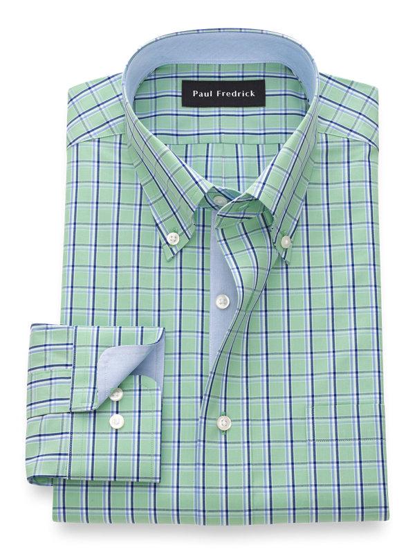 Slim Fit Pure Cotton Check Dress Shirt with Contrast Trim
