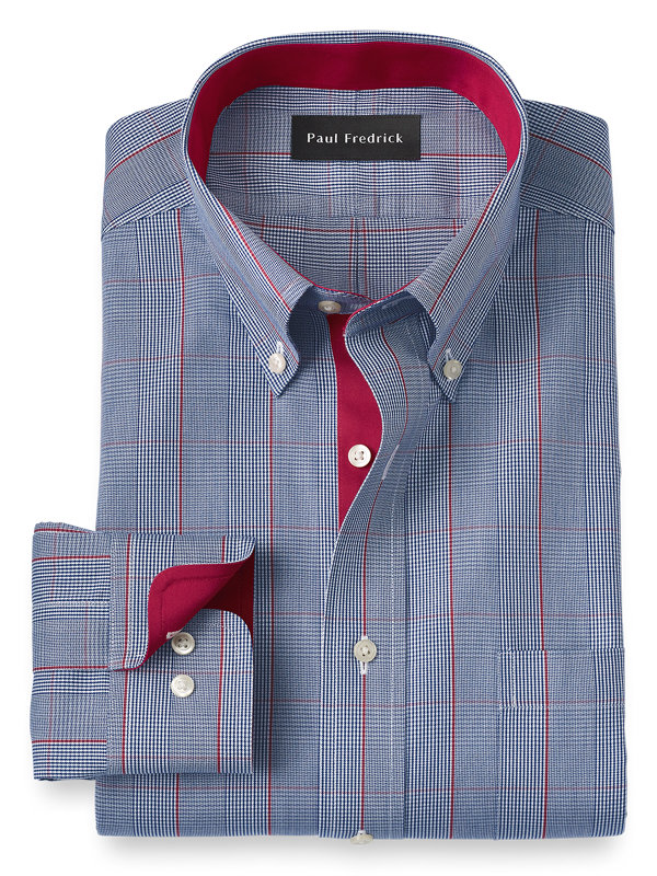 Non-Iron Cotton Glen Plaid Dress Shirt with Contrast Trim