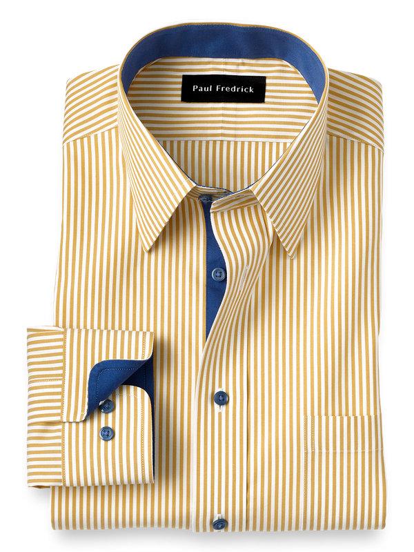 Slim Fit Non-Iron Cotton Bengal Stripe Dress Shirt with Contrast Trim