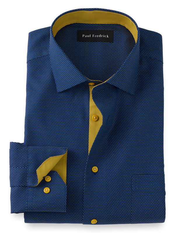 Tailored Fit Non-Iron Cotton Dot Dress Shirt with Contrast Trim