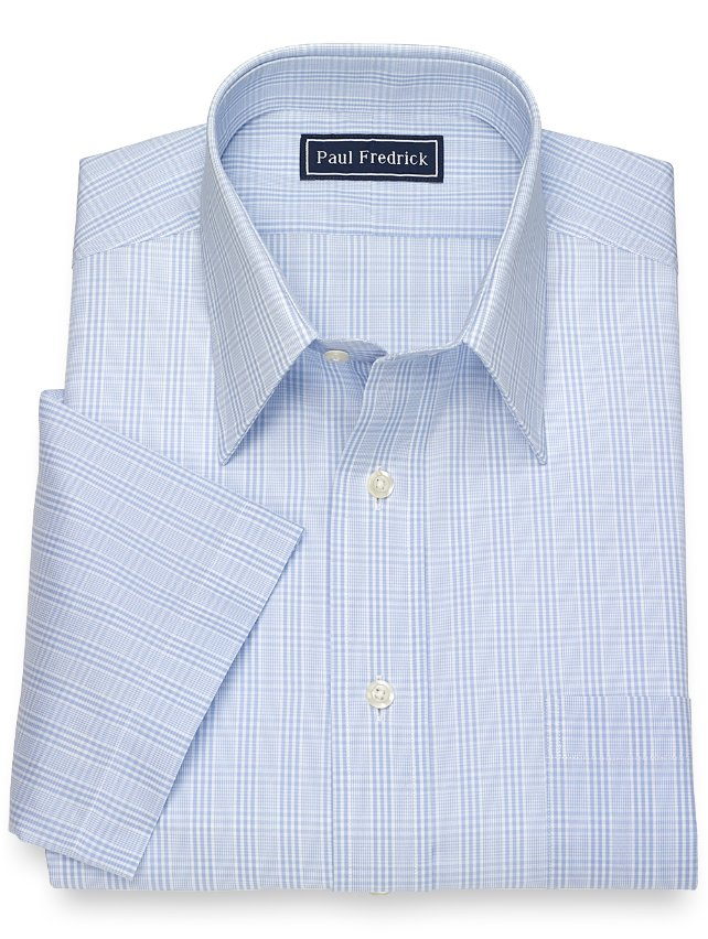 Slim Fit Cotton Glen Plaid Short Sleeve Dress Shirt