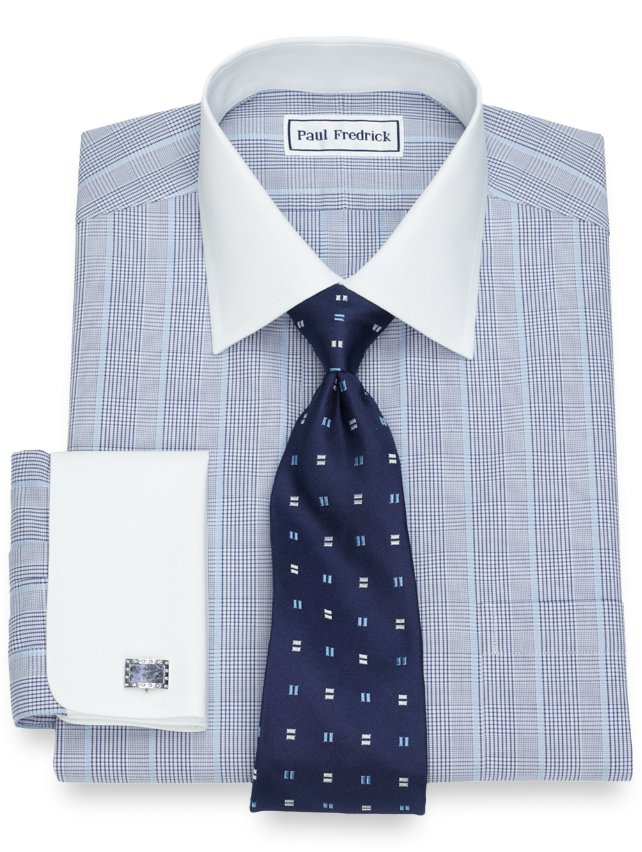 Slim Fit Non-Iron Cotton Glen Plaid With Satin Stripe Dress Shirt