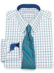 Non-Iron Cotton Satin Grid Dress Shirt