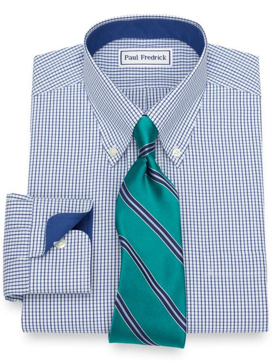 Non-Iron Cotton Grid Dress Shirt