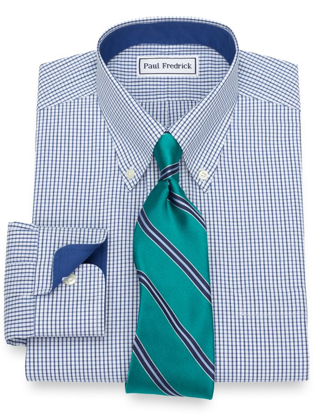 Slim Fit Non-Iron Cotton Grid Dress Shirt