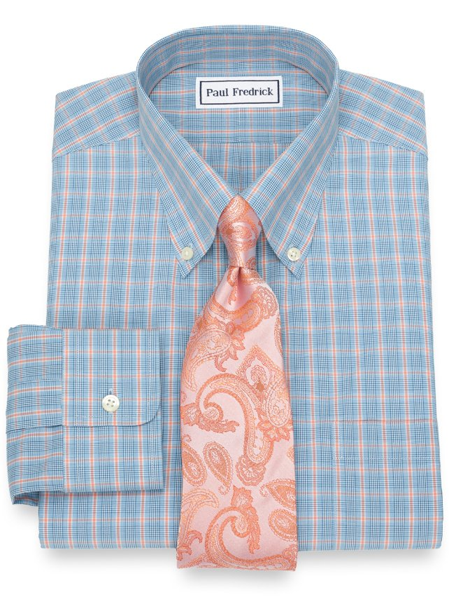 Slim Fit Non-Iron Cotton Check Dress Shirt