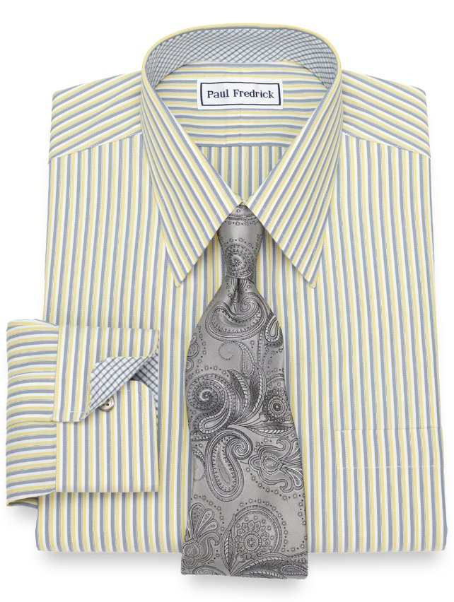 Slim Fit Non-Iron Cotton Alternating Stripe Dress Shirt