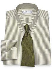 Slim Fit Non-Iron Cotton Bengal Stripe Dress Shirt