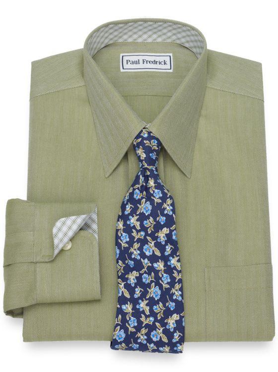 Slim Fit Non-Iron Cotton Herringbone Dress Shirt