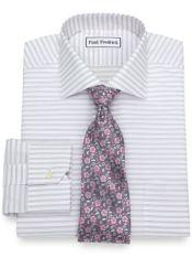 Slim Fit Non-Iron Cotton Alternating Stripe Dress Shirt