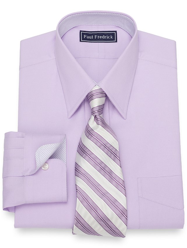 Slim Fit Cotton Solid Pinpoint Dress Shirt