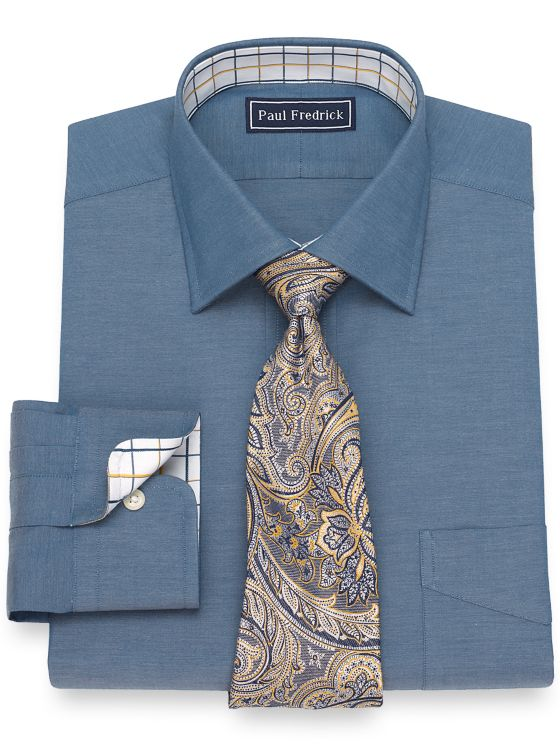 Cotton Solid Pinpoint Dress Shirt