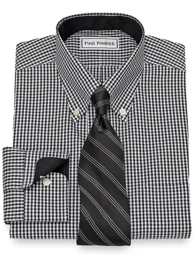 Non-Iron Cotton Gingham Dress Shirt