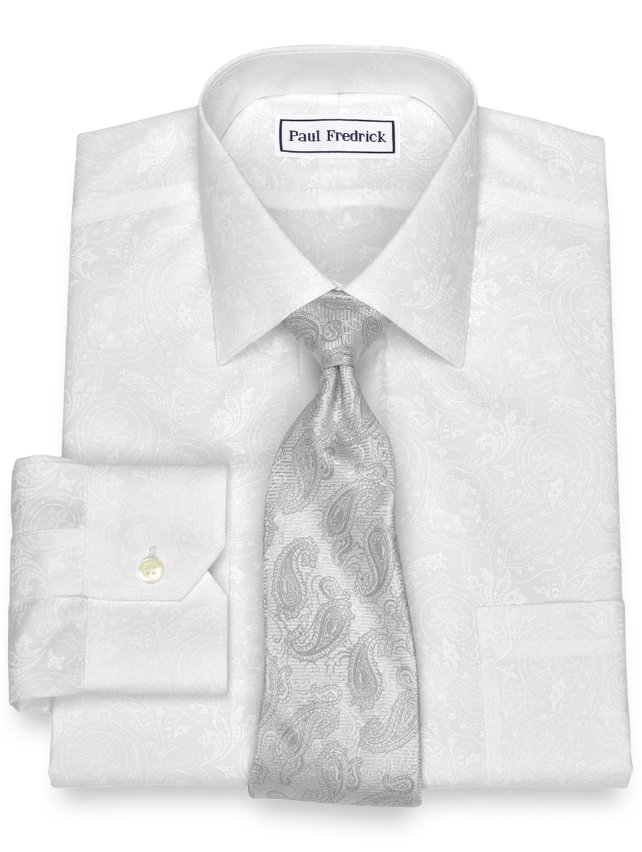 Slim Fit Non-Iron Cotton Paisley Dress Shirt