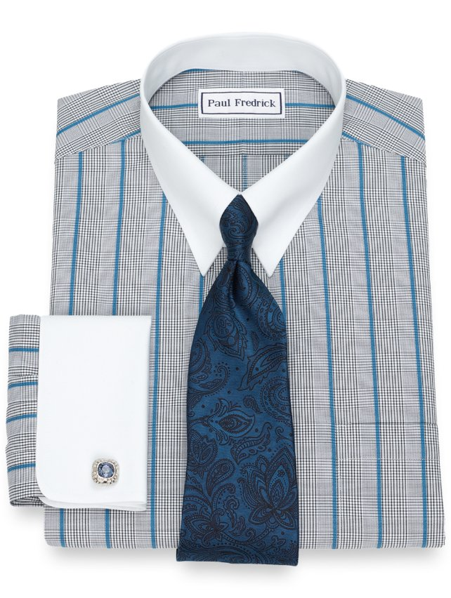 Non-Iron Cotton Glen Plaid With Satin Stripe Dress Shirt