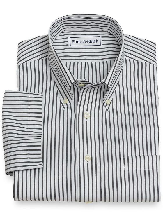 Slim Fit Non-Iron Cotton Stripe Short Sleeve
