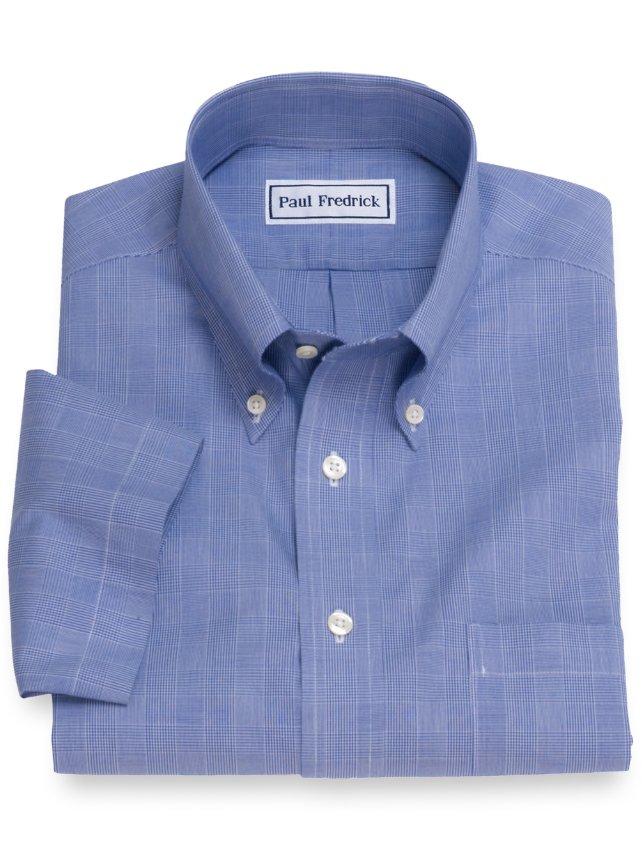 Non-Iron Cotton Glen Plaid Short Sleeve