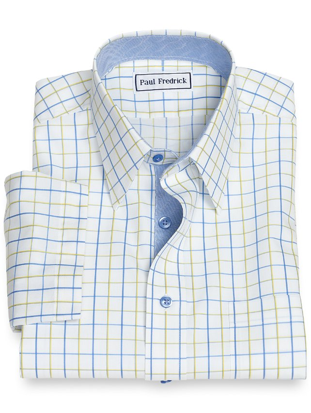 Non-Iron Cotton Satin Grid Short Sleeve