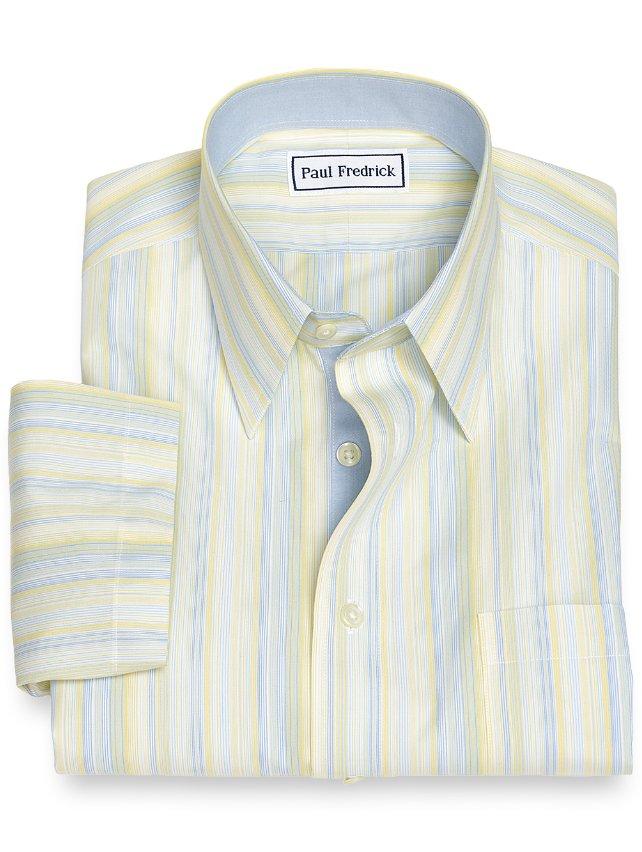Slim Fit Non-Iron Cotton Variegated Stripe Short Sleeve