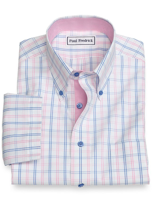 Slim Fit Non-Iron Cotton Tattersall Short Sleeve