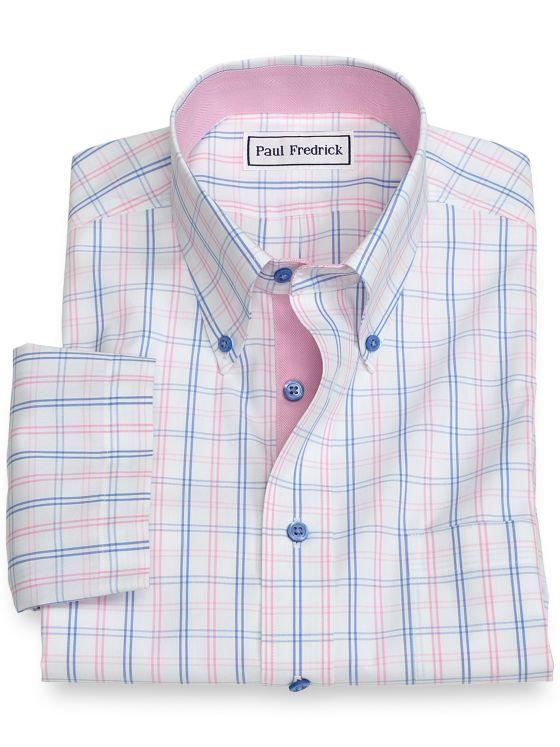 Slim Fit Non-Iron Cotton Tattersall Short Sleeve