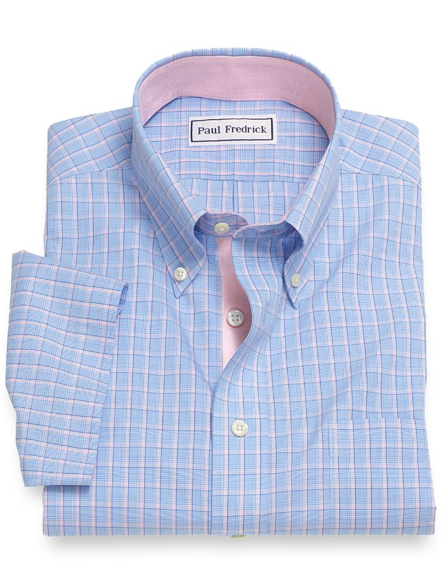 Non-Iron Cotton Check Short Sleeve