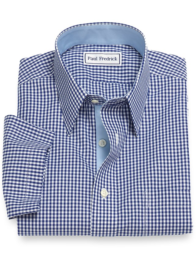 Slim Fit Non-Iron Cotton Gingham Short Sleeve