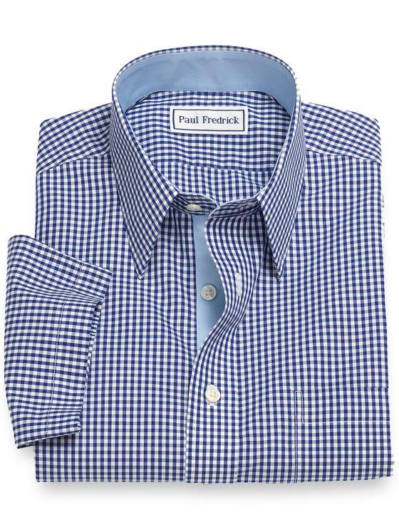 Slim Fit Non-Iron Cotton Gingham Short Sleeve