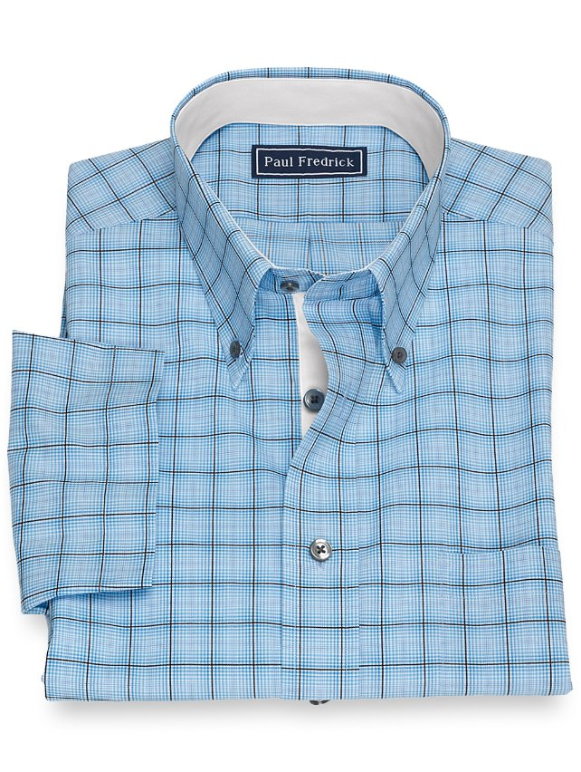 Slim Fit Cotton Tattersall Short Sleeve