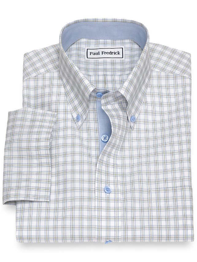 Non-Iron Cotton Windowpane Short Sleeve