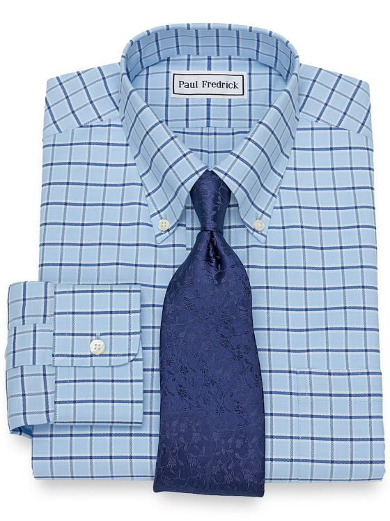 Non-Iron Supima Cotton Windowpane Dress Shirt