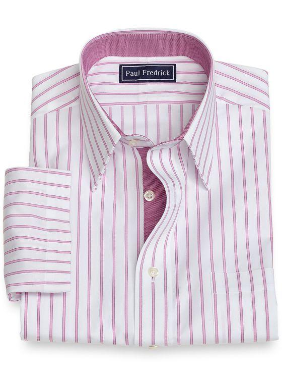 Slim Fit Cotton Stripe Short Sleeve