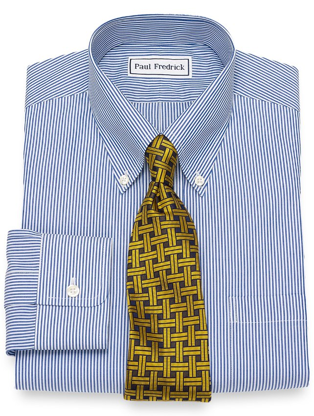 Non-Iron Supima Cotton Fine Line Bengal Stripe Dress Shirt