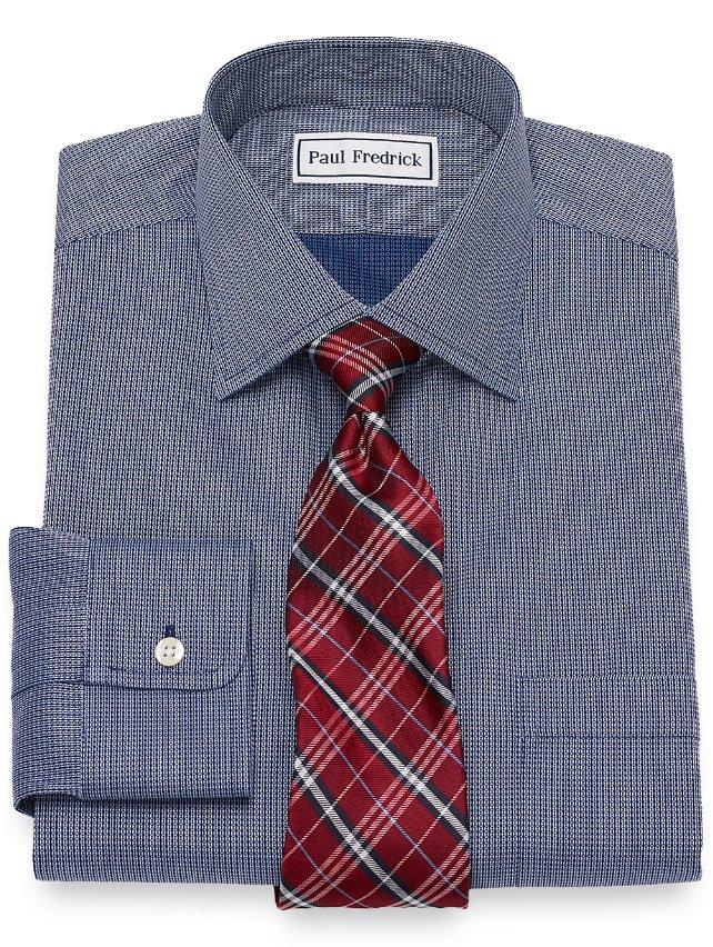Non-Iron Cotton Textured Mini Pattern Dress Shirt