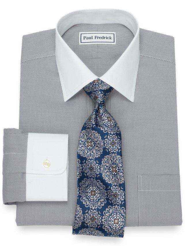 Non-Iron Cotton Mini Houndstooth Dress Shirt