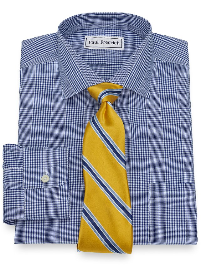 Non-Iron Cotton Large Glen Plaid Dress Shirt