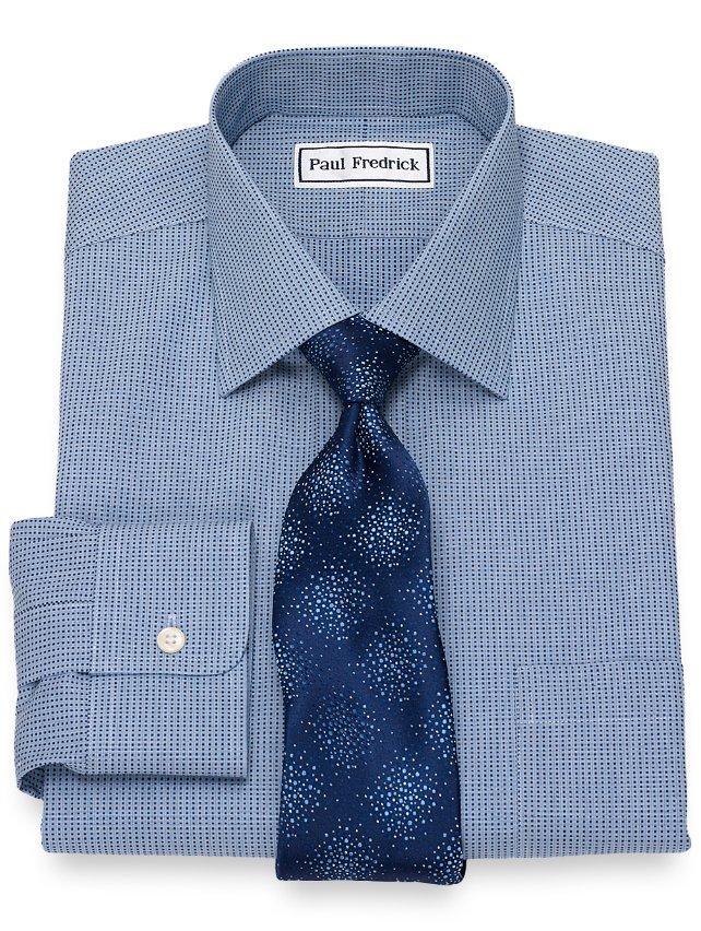 Non-Iron Cotton Textured Dot Dress Shirt