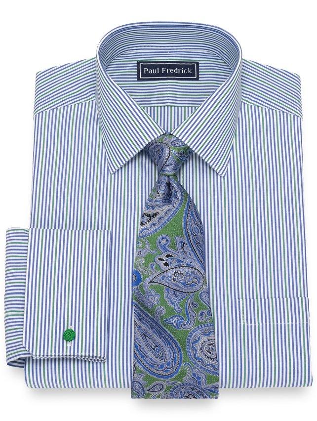 Cotton Alternating Stripe Dress Shirt