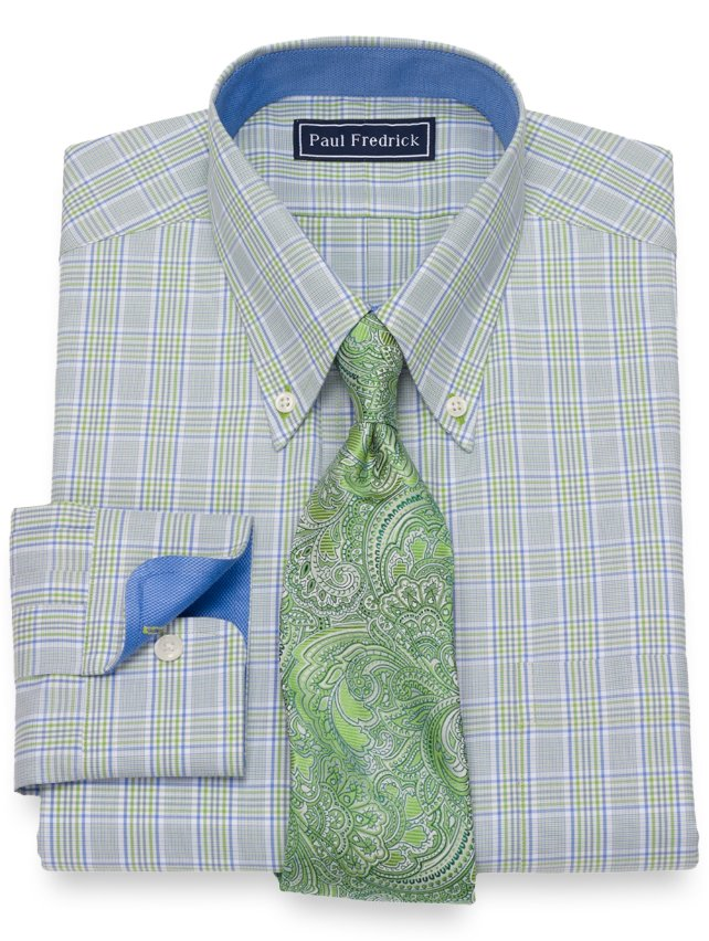 Slim Fit Cotton Plaid Dress Shirt