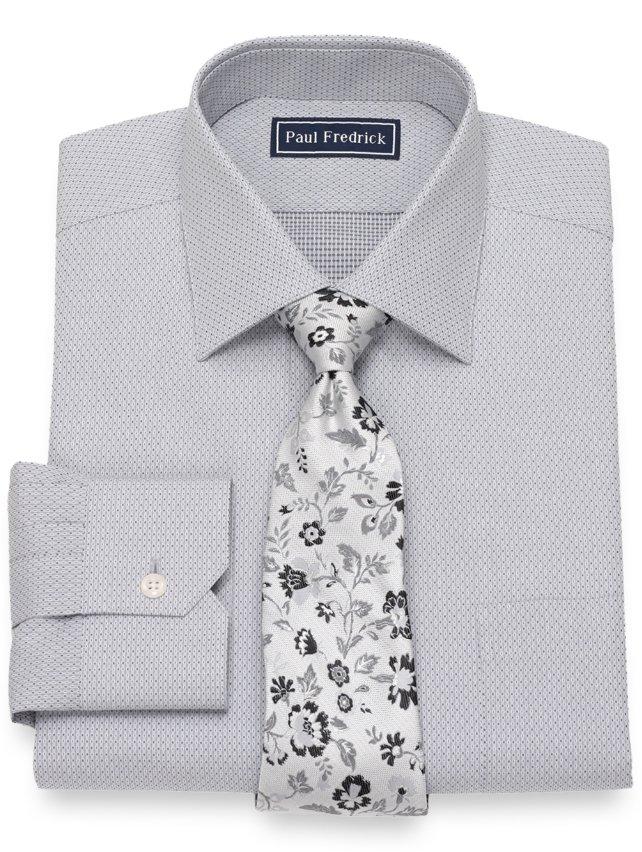 Slim Fit Cotton Dot Pattern Dress Shirt