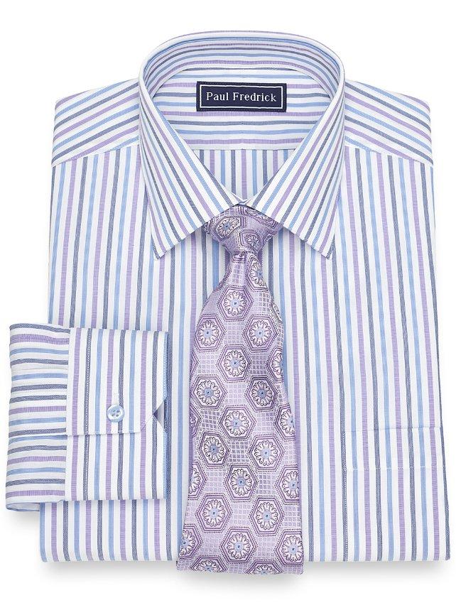 Slim Fit Cotton Alternating Stripe Dress Shirt