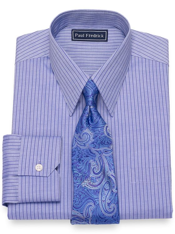 Cotton Fine Line Stripe Dress Shirt