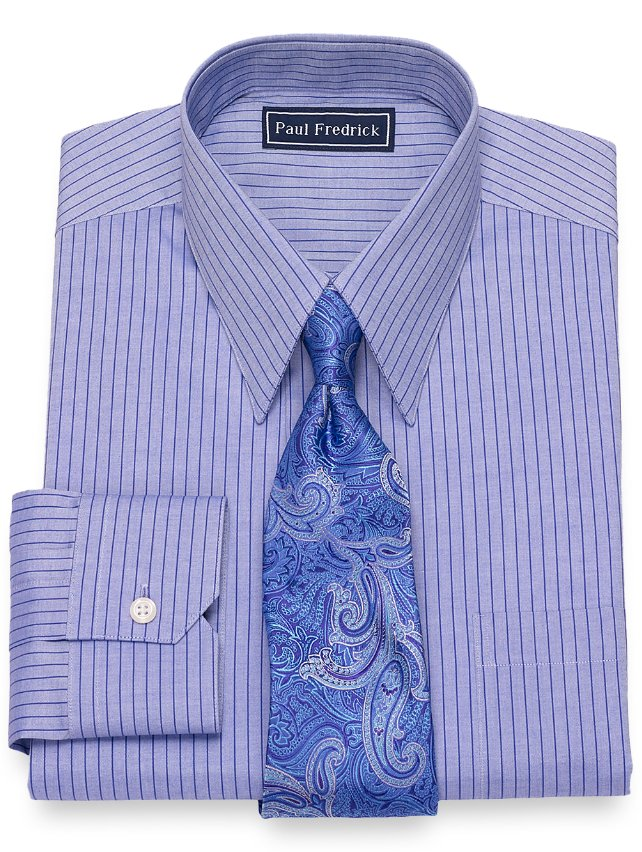 Slim Fit Cotton Fine Line Stripe Dress Shirt