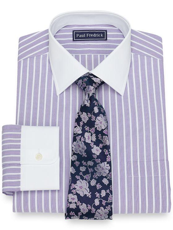 Slim Fit Cotton Satin Stripe Dress Shirt