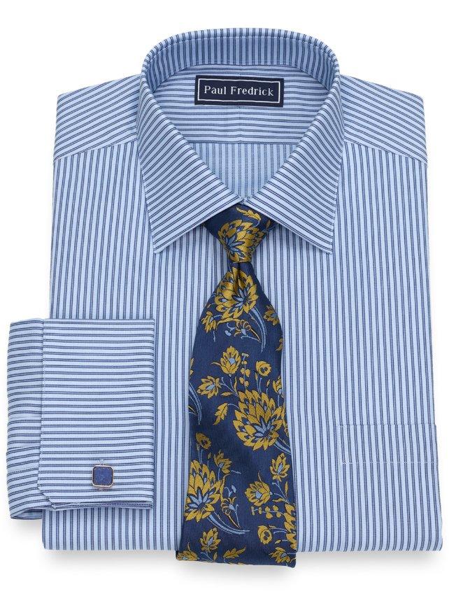 Slim Fit Cotton Twin Stripe Dress Shirt