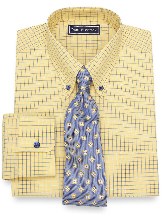 Cotton Grid Dress Shirt