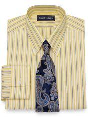 Slim Fit Cotton Wide Stripe Dress Shirt