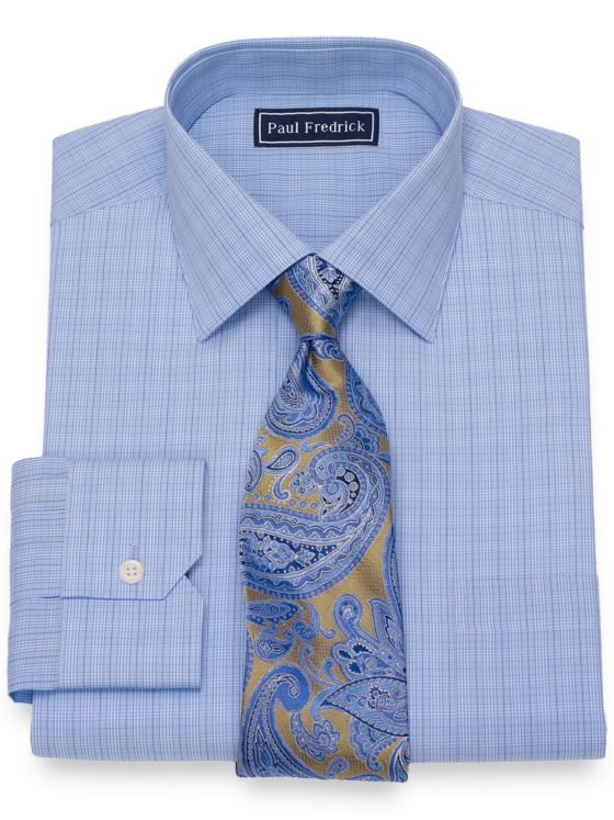 Slim Fit Cotton Plaid Dress Shirt