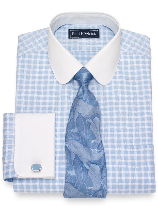Slim Fit Cotton Twill Check Dress Shirt