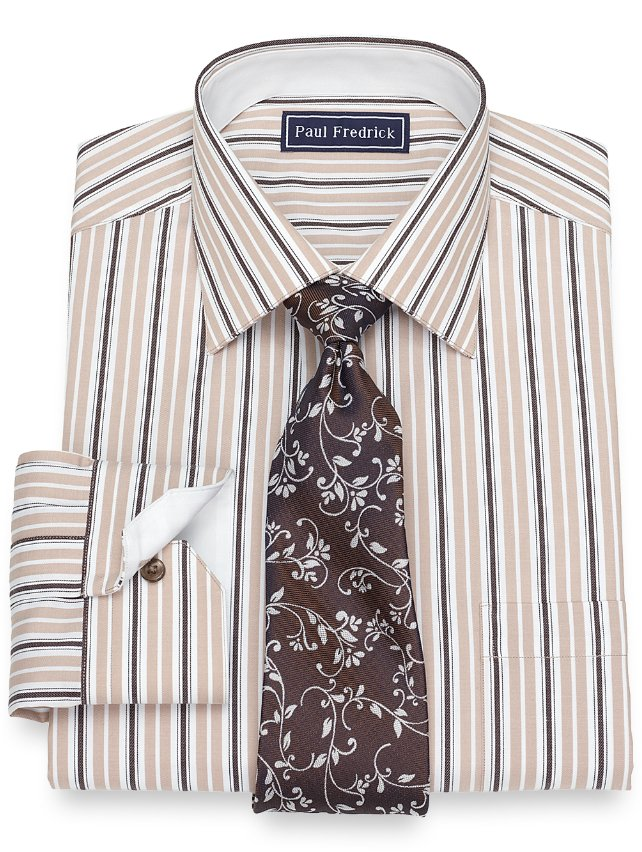 Cotton Wide Stripe Dress Shirt
